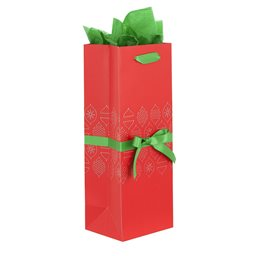 Wine Gift Bag, Ribbon with Tissue, Holiday Red Ornaments