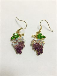 Earring, Dangling Grapes in Gold