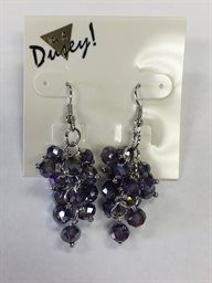 Earring, Dangling Grape Beads in Silver