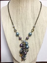 Necklace, Multi Grape Boh Glass Cluster Drop w/Pewter Chain