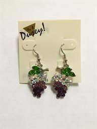 Earring, Crystal Grape on Fish Hook
