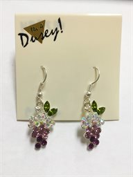 Earring, Small Purple Grape Rhinesone & Marquise Leaf
