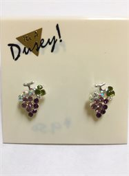 Earring, Tiny Grape Cluster Crystal Green Leaf Post