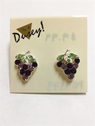 Earring, Grape Cluster Crystal Green Leaf Post