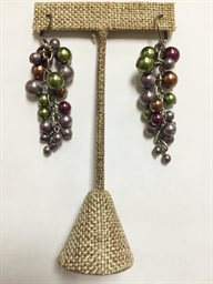 Earring, Multi Grape Boh Glass Cluster Drop Euro