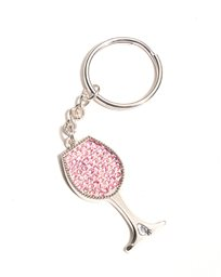Keychain, Wine Glass with Rhinestones