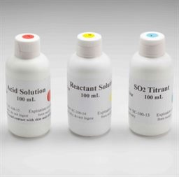 Reagents for SO2 analysis (450 mL each titrant, reactant, acid solution)