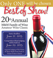 20th Annual M&M Family of Wine Amateur Wine Competition